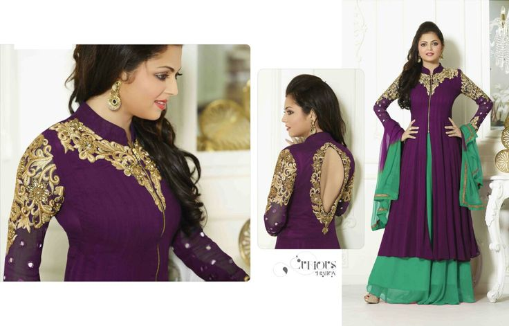 ALLURING PURPLE COLOR GEORGETTE PALAZZO ANARKALI SUIT WITH CHIFFON DUPATTA Buy Now : http://bit.ly/1Q7kxgG Price : Rs. 2,949.00/- Free Shipping in India #AnarkaliSuits #DhrastiDhammiSuits #LongAnarkali