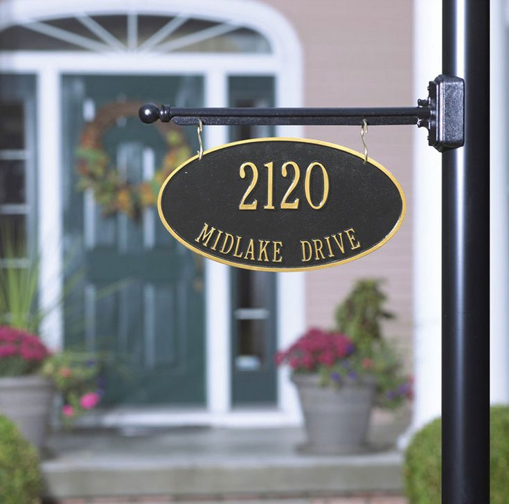 Lamp Post Hanging Address Plaques All, White Lamp Post With House Number