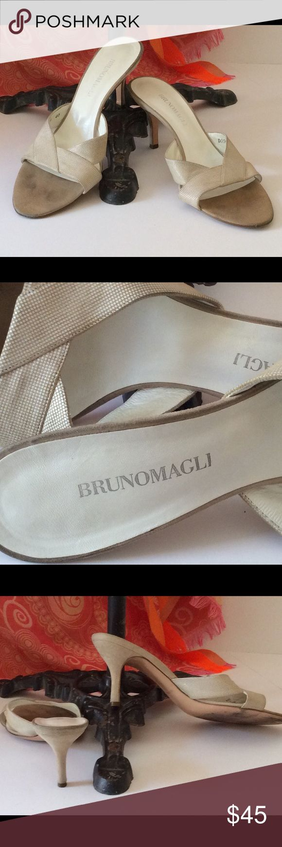 Bruno Magli women's leather mules Gently used suede pattern leather.  Kitten heel. Bruno Magli Shoes Mules & Clogs