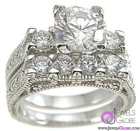 Vintage Engagement Wedding Ring Set