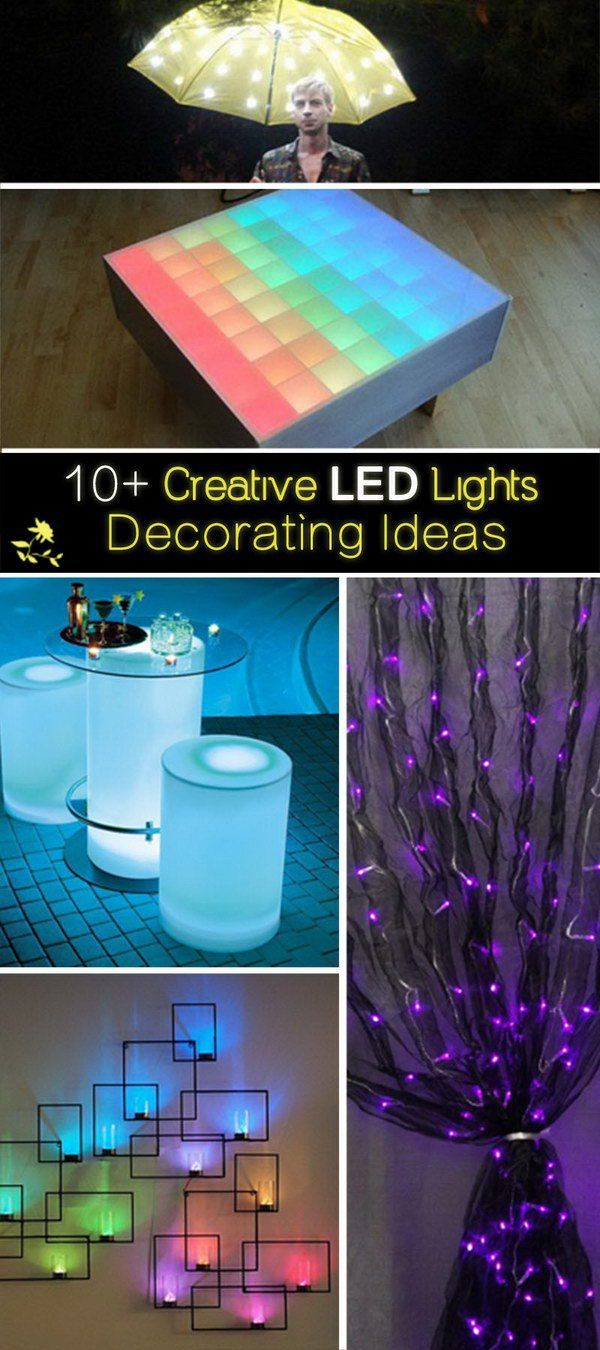 Pictures of Creative Uses for #LED_Lights - These ten pictures capture creative designs that feature LED lights, including curtains, #chandeliers, and umbrellas. These decorative light displays can be used in homes, offices, or businesses to add color, softness, and sophistication to any room.