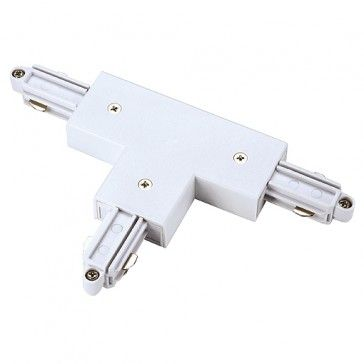 T-Verbinder für 1-Phasen HV-Stromschiene, Aufbauversion, Schutzleiter links, weiss / LED24-LED Shop