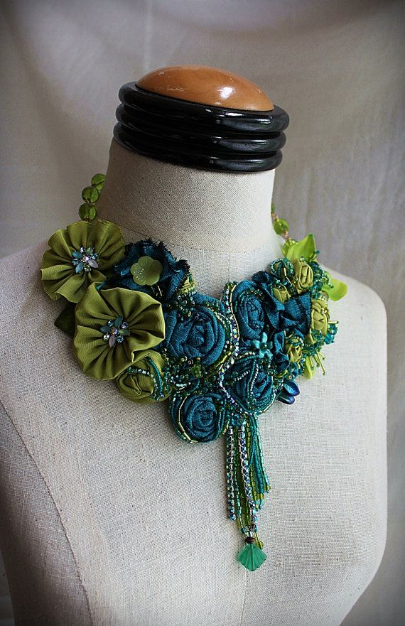 MIDORI Teal Green Beaded Textile Statement by carlafoxdesign