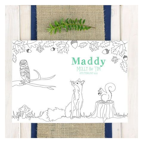 Woodland Animals Personalised Party Colouring Placemat