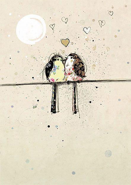 Two Lovebirds by Jane Crowther. Design for Bug Art greeting cards.