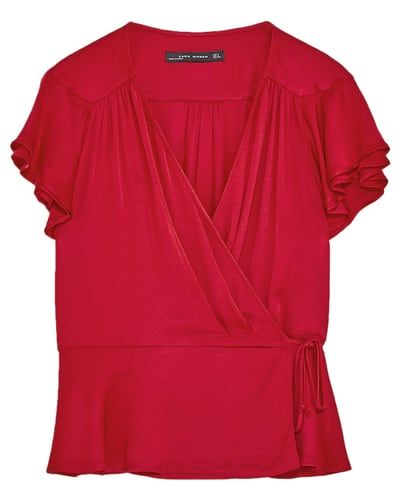 SHORT SLEEVE CROSSED FRONT BLOUSE-View All-TOPS-WOMAN-SALE | ZARA United States