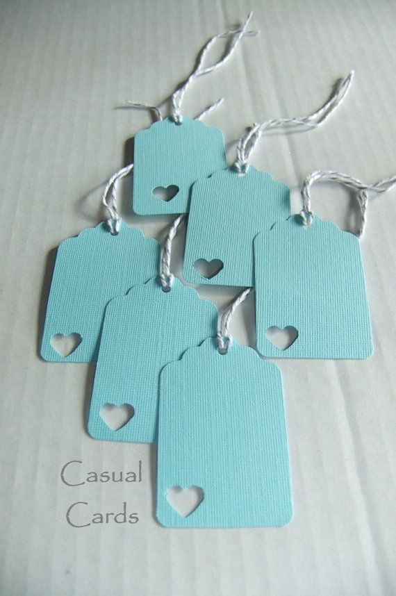 Tiffany Blue Heart Tie OnTags cute!