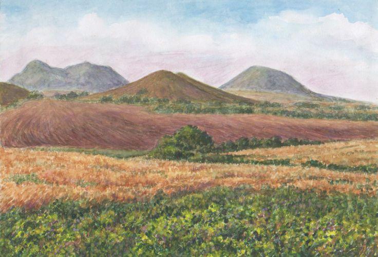 tertier volcanic ladscape České středohoří, northern Bohemia. Watercolor by Jana Haasová