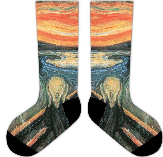 s10-EDVARD MUNCH The SCREAM socks -  cute, vintage, renaissance, famous painting, famous painter