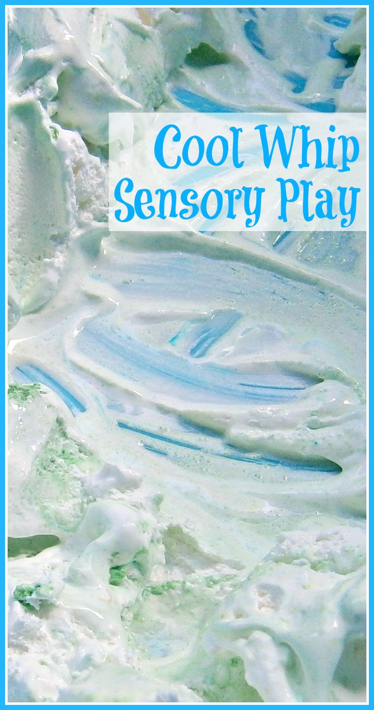 Sensory play using Cool Whip two different ways -- once straight from the fridge, then FROZEN! Hours of fun for kiddos (toddlers on up), especially during the hot summer months.