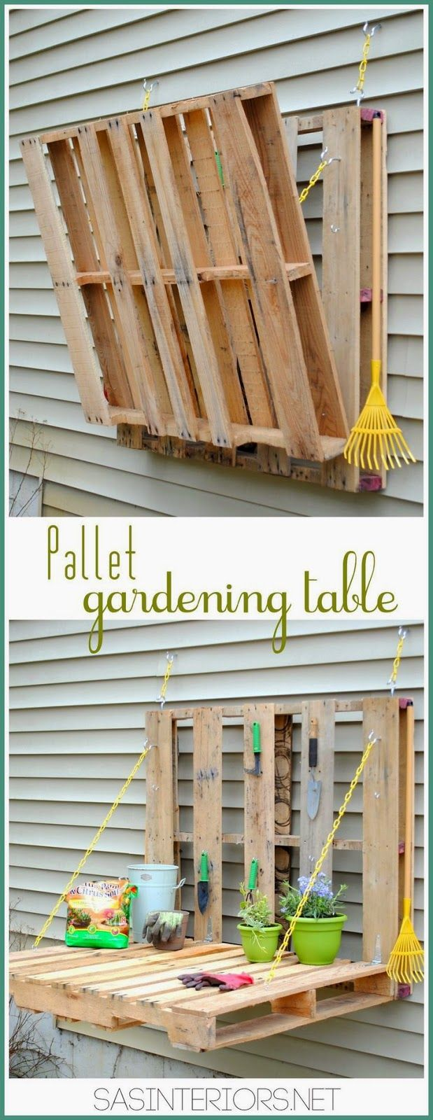 #DIY: Vertical Pallet Gardening Table - No more gardening on the ground with a hurt back. Create a garden table for less than $10....