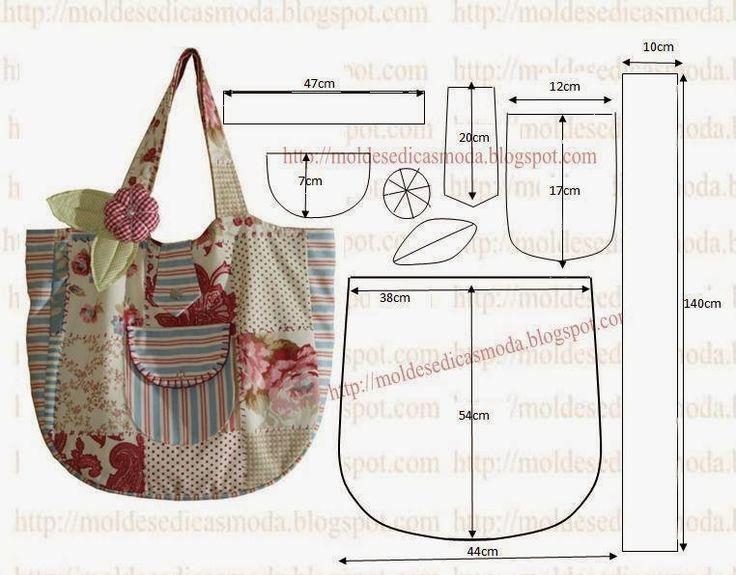 MOLDE DE SACO Faça o molde deste saco com as medidas que a imagem sugere. Depois de desenhar o molde de saco corte o tecido exterior e interior. Cole entre