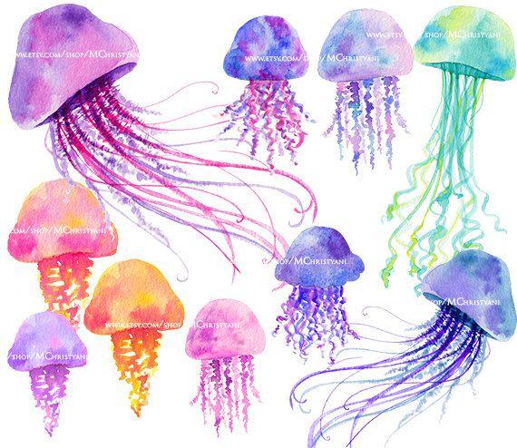 Watercolor Jellyfish 20 Clip Art Images Png Instant Download Watercolor Graphics Handpain Watercolor Jellyfish Watercolor Illustration Under The Sea Drawings