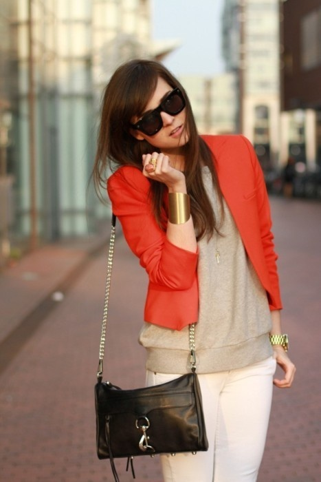 .Coral Blazers, Handbags, Style, Colors Blazers, Classic Clutches, Fashion Inspiration, Coral Jackets, Orange Blazers, Orange Jackets