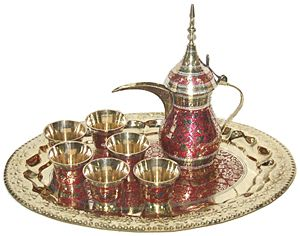 Arabic Bedouin Golden Red Teapot with cups