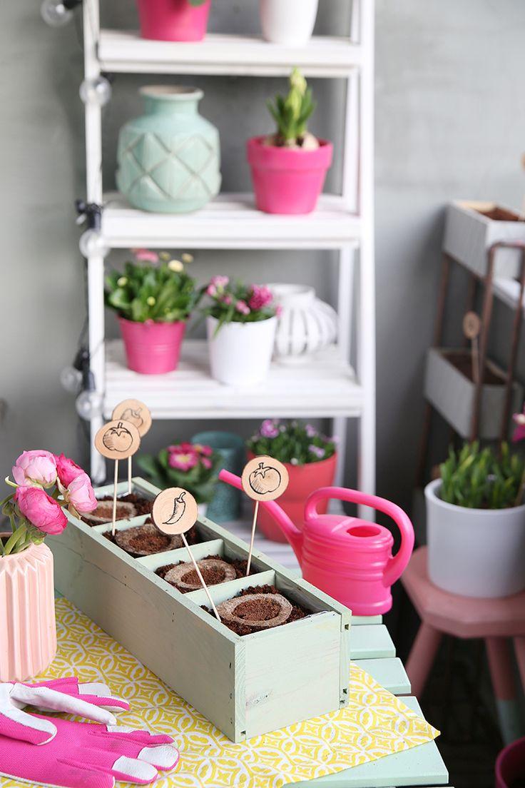 Kreative DIY Idee zum Selbermachen: Pflanzenstecker aus Holzscheiben und Gemüse selbst auf dem Balkon anbauen