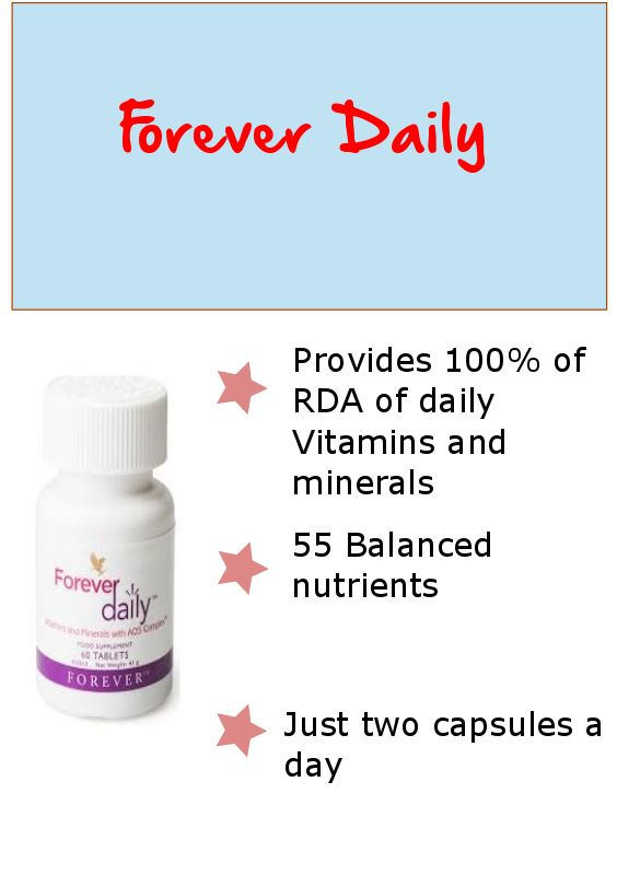 Forever Daily supplement is designed to deliver 100% of the recommended daily allowance (RDA) of essential vitamins and bio- available minerals and nutrients, in just two easy to swallow capsules.