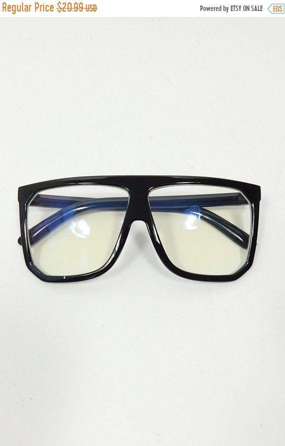 a01b10e41deb 30% SPRING SALE Vintage Classic Standard Transparent Fashion Big Square  Shape Sunglasses Frame Black Clear Lens Costume Glasses by WearingMeOutVtg  on Etsy