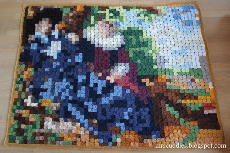 Mrs. Cuddles: Het huwelijksportret - Frans Hals Pixel blanket / wall hanging crochet