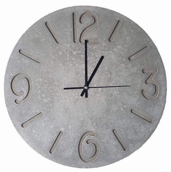 Large Concrete Wall Clock (400mm). Konkrete Uhr. Horloge en béton. Reloj de hormigón