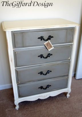 white & gray dresser painted with homemade white chalk paint and annie sloan french linen chalk paint