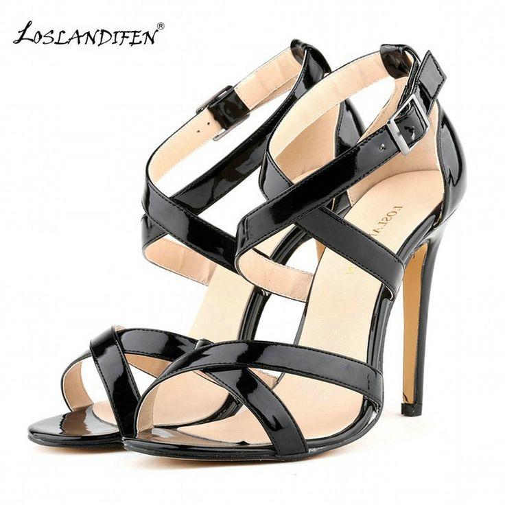 >> Click to Buy << LOSLANDIFEN zomer vrouwen hoge hakken sandalen schoenen vrouw mode sexy cross-gebonden party bruiloft Dunne Hakken gesp PU leer  #Affiliate