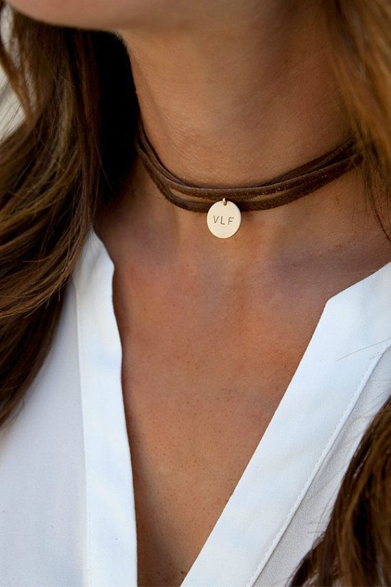 Leather Wrap Boho Choker Personalized Leather por LEILAjewelryshop