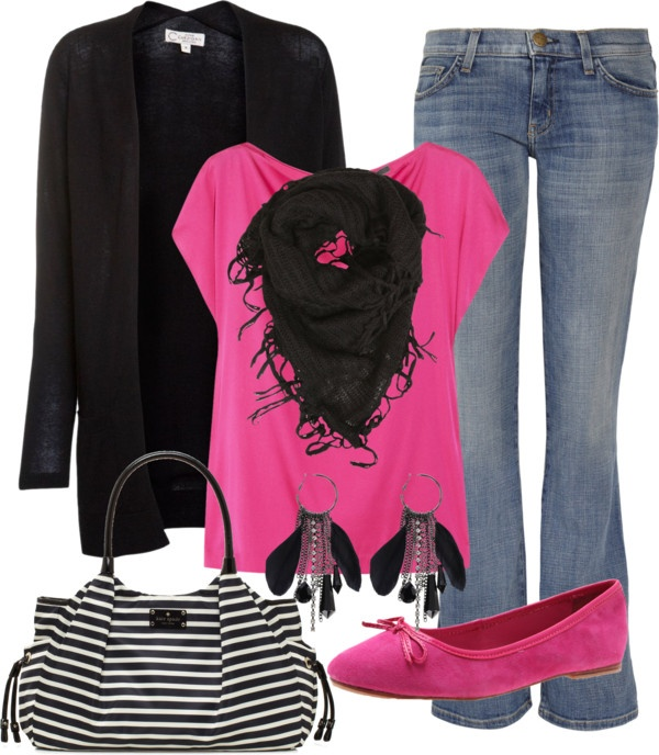 Love the hot pink shirt and short black scarf!     ""