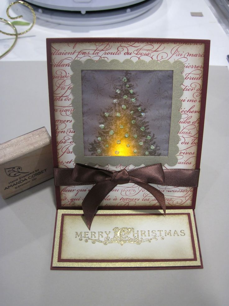 How to creat a luminary easel card.  Tutorial by Amanda Corbet  (121511)  using Stampin' Up!  (dies) Scallop Square Duo and (stamps) Christmas Lodge, En Francais, Serene Snowflakes  [tea light]