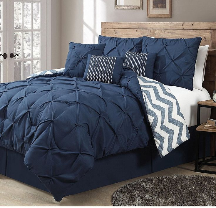 Navy Blue Pintuck Pleated Chevron Comforter Queen Set Elegant High End Geometric Textured Pinch Puckered Design Zig Zag Stripes Printed Bedding Vivid