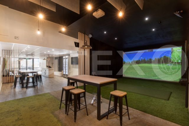Autex Interior Acoustics - Quietspace® Frontier™ - Custom - Golf Refinery, Christchurch, NZ - Colour: Flatiron - Suspended from ceiling - Designed by Spaceworks
