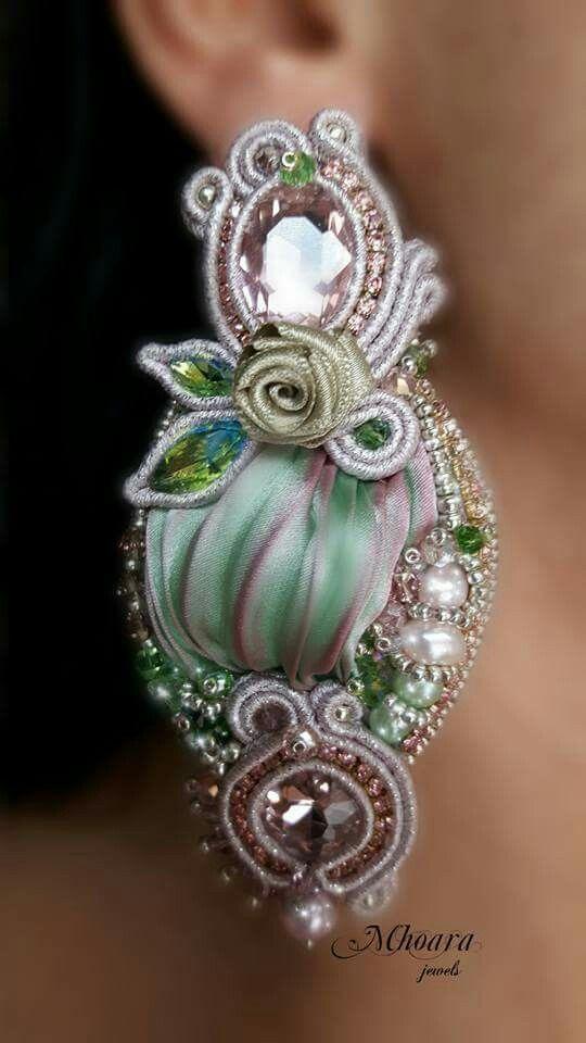' Nymph of the Forest ' earrings -shibori silk - soutache - silk ribbon -  by Mhoara Jewels