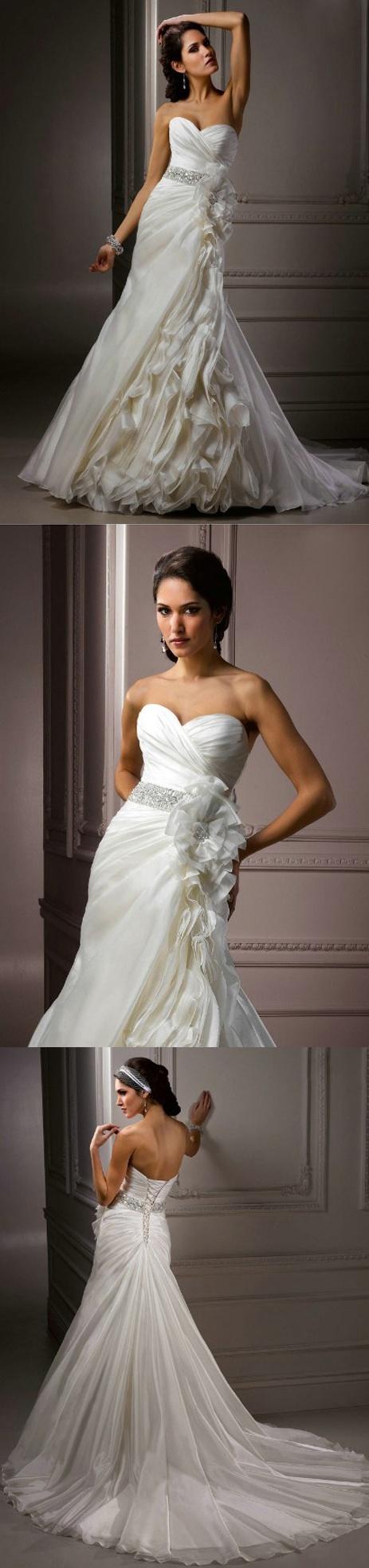 $209.99  Wedding Popular Ivory Organza Sweetheart Handmade Flowers Bridal Dresses 2013 With Crystal
