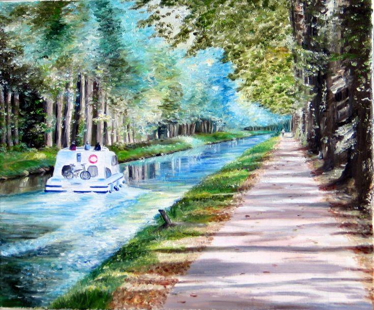 Le canal de la Garonne - huile sur toile