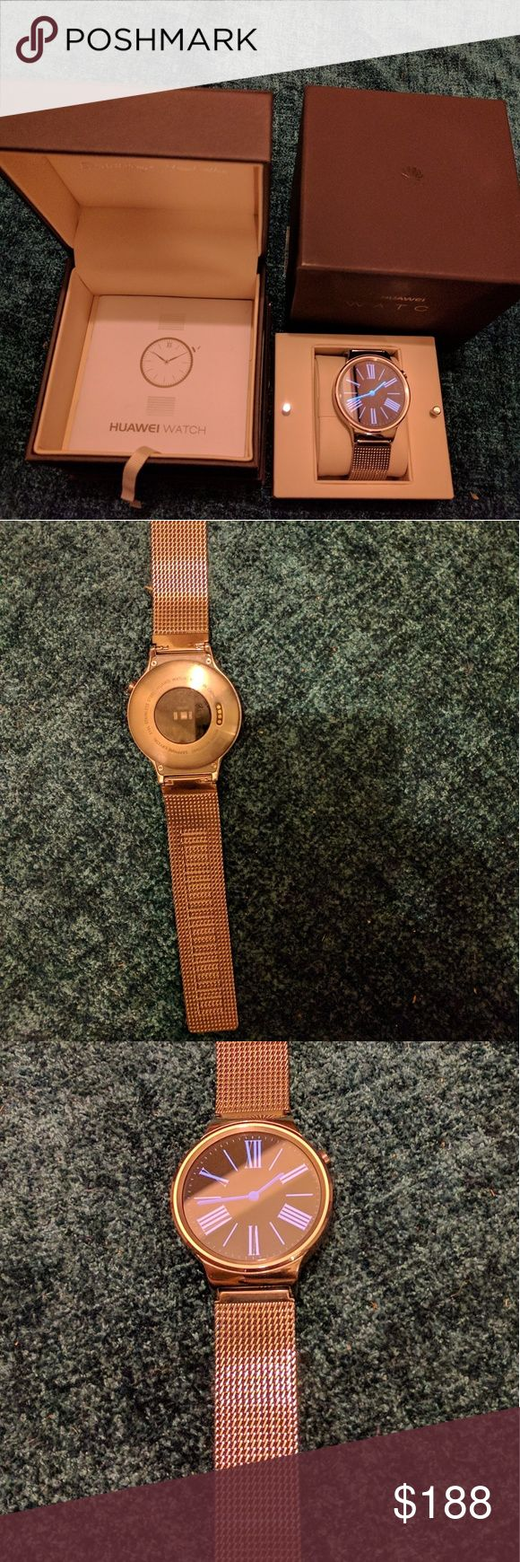 ELEGANT Huawei Smartwatch Stainless Milanese MINT condition. No scratches or scuffs to face, bezel or band.  Only worn a few times as I purchased the rose gold version. Android Wear 2.0 upgrade, 4000+ apps, all notifications, speaker, bluetooth, take calls. Seamlessly sync w/ Android or Apple phones. Regarded as the most elegant classic design of smartwatches by all major tech reviewers. Original box included, does have a small nick on one side. Charger, USB & manual included. Battery…