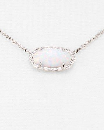 Kendra Scott Elisa Silver Pendant Necklace in White Kyocera Opal