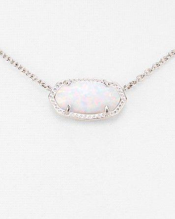 Kendra Scott Elisa Silver Pendant Necklace in White Kyocera Opal