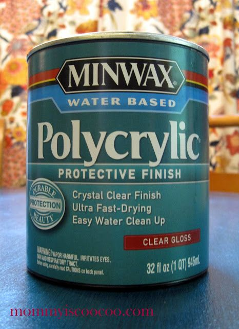 Polycrylic - won't yellow.  Polyurethane will yellow. (Remember for doing pieces that you want to stay in the cool family)