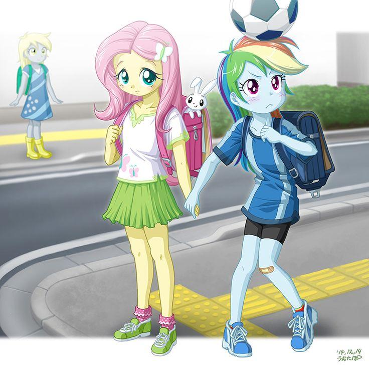 Randoseru, Fluttershy and Rainbow Dash back in their school days.
