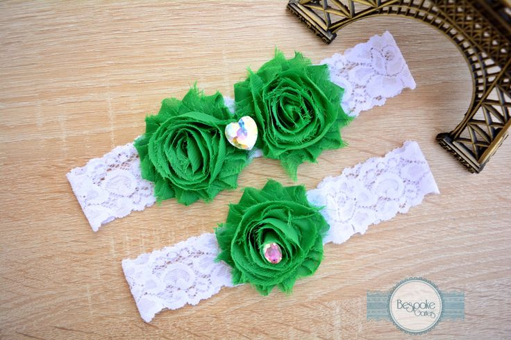 White Lace Bridal Garter Set, Handmade with Emerald Green Flower & Crystal Rainbow Rhinestone - by BespokeGarters by BespokeGarters on Etsy