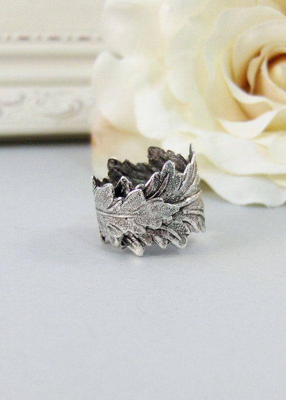 Zilver blad, Ring, Leaf Ring, Twigg Ring, zilver blad Ring, zilver, Leaf, Twigg, tak, antieke Ring, Ring Zilver, Woodland, valleygirldesigns.