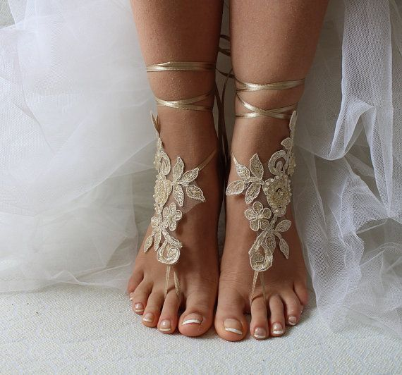 Hey, I found this really awesome Etsy listing at https://www.etsy.com/listing/290496347/beaded-champagne-lace-wedding-sandals