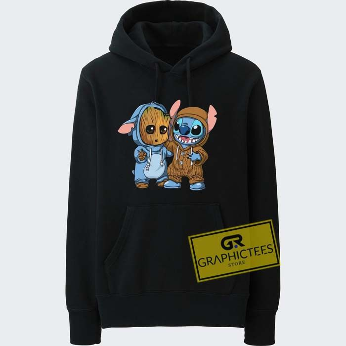 new arrive coupon codes big sale Stitch And Baby Groot Hoodie Graphic Tees //Price: $29.99 ...
