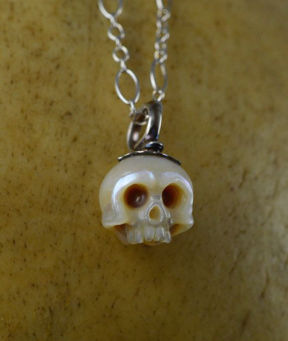 Large Carved Skull Pearl with Antique Sterling by ArloEdgeWalker