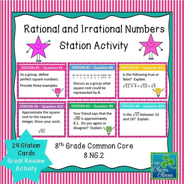 This activity includes 24 task cards along with an answer sheet.  It can be used in order to review 8.NS.2 concepts: Students locate rational and irrational numbers on a number line. Students order and compare rational and irrational numbers. Students als