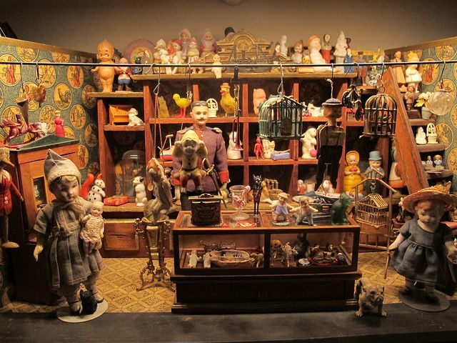 A Cleveland Antique Christmas Collection by Whopperjaw, via Flickr...Darla & Jerry Arnold's antique German toy store with miniatures.
