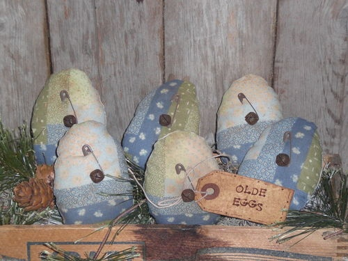 6 Primitive Easter Eggs Blue Floral Eggs Ornies Bowl Fillers Ornaments Tucks |