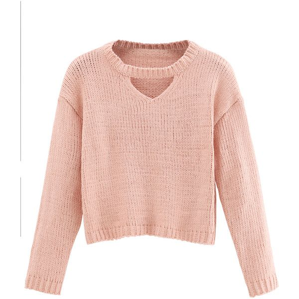 Shein sheinside pink cut out crop sweater 69 dkk liked for Long sweaters and shirts