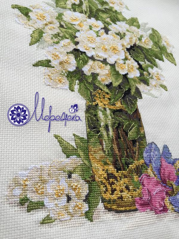 flowers, vase, iris, cross stitch kit, kross stitch, merejka