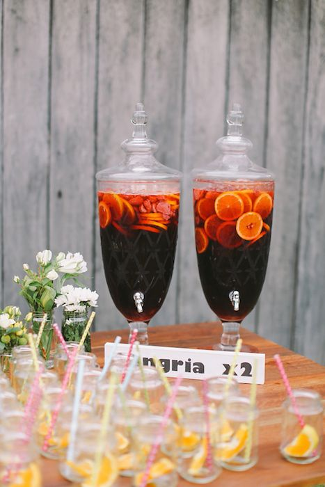 A sangria bar is a fun and refreshing choice for your party/reception. Source: Lara Hotz Photography